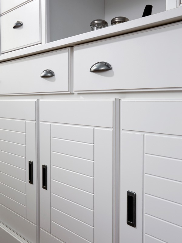 Landhaus Möbel Vicco 7, Esszimmer 9 Teilig, Weiß. Sideboard + Esstisch +  Stühle