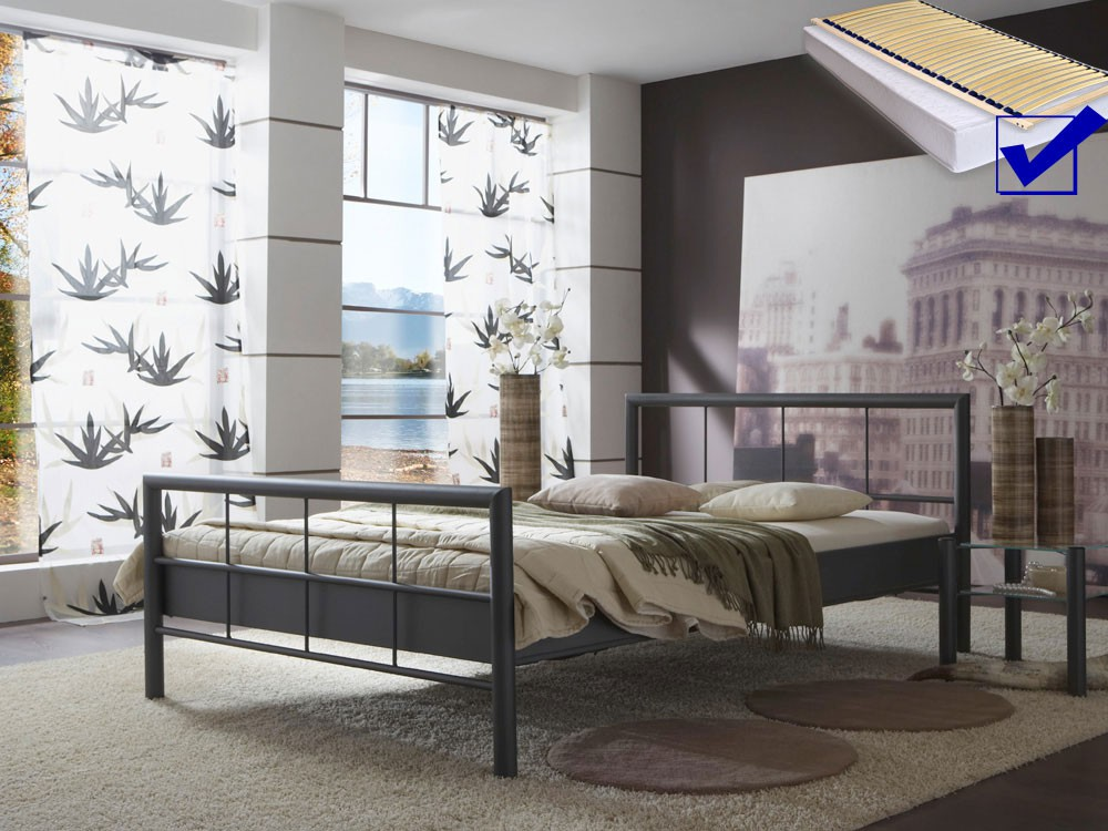 hochwertiges metallbett lattenrost matratze bett komplett ehebett alisi ebay. Black Bedroom Furniture Sets. Home Design Ideas