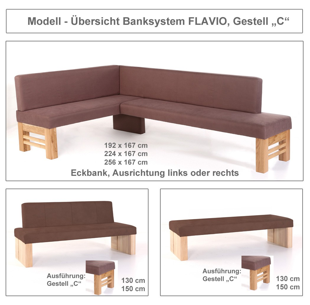 hochwertige eckbank sitzecke essecke polsterbank bank massiv flavio gestell c ebay. Black Bedroom Furniture Sets. Home Design Ideas