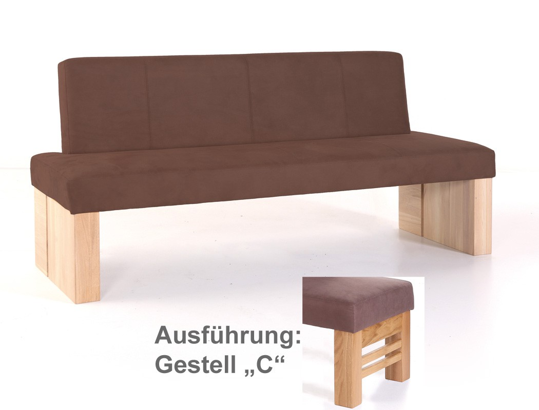 hochwertige sitzbank mit lehne polsterbank massivholz bank flavio gestell c ebay. Black Bedroom Furniture Sets. Home Design Ideas