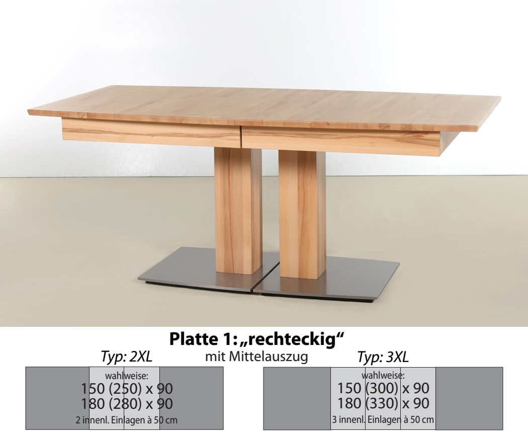 s ulentisch rechteckig esstisch ausziehbar ausziehtisch holztisch alton xl ebay. Black Bedroom Furniture Sets. Home Design Ideas