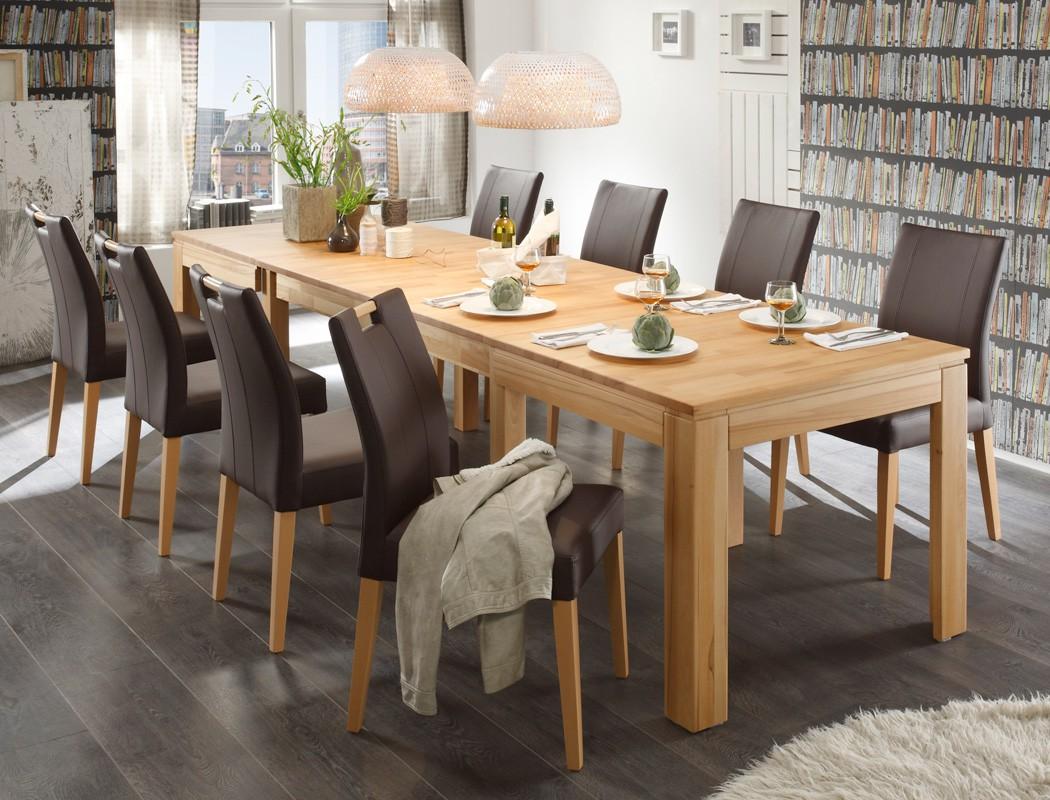 tischgruppe kernbuche esstisch 8 st hle allround louisa m o griff braun ebay. Black Bedroom Furniture Sets. Home Design Ideas