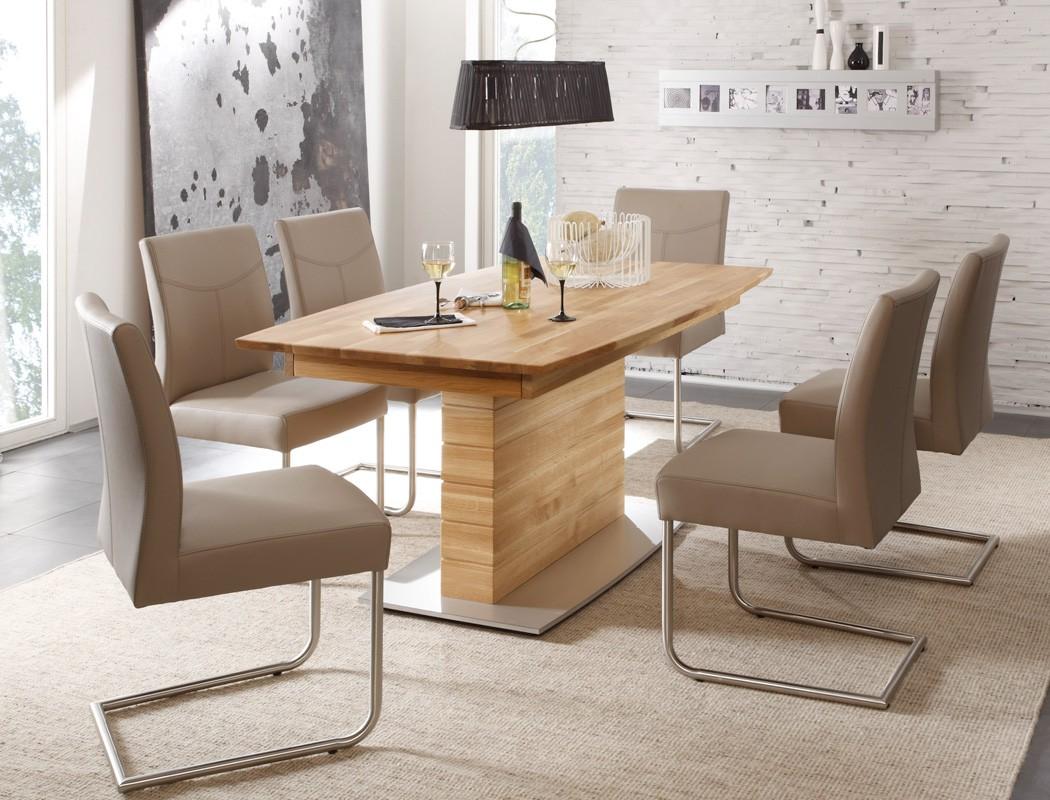 tischgruppe eiche s ulentisch 6 schwingst hle ataro a. Black Bedroom Furniture Sets. Home Design Ideas
