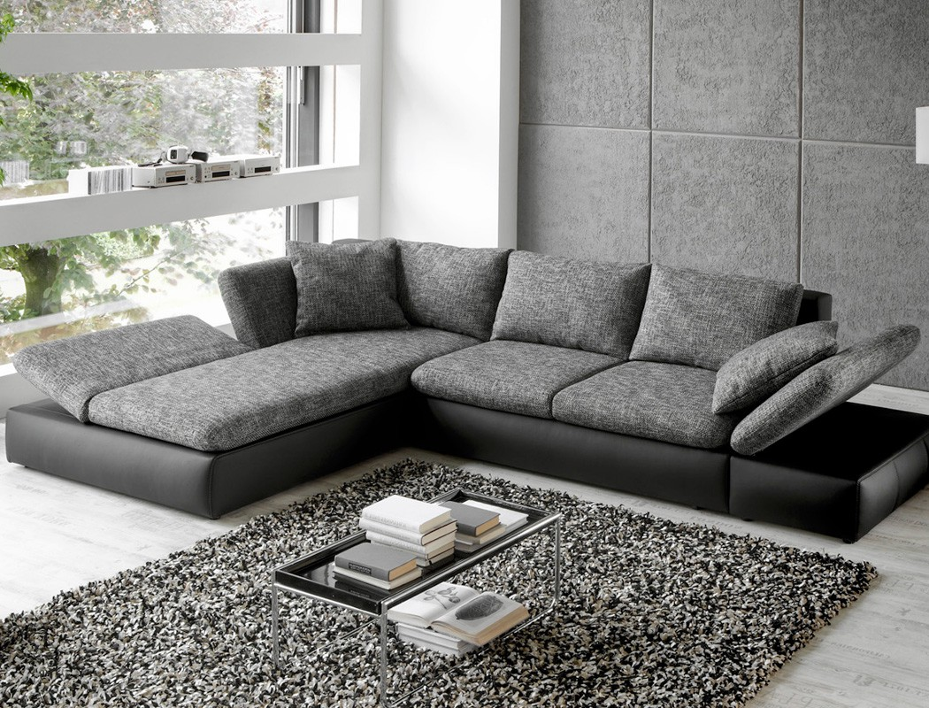 sofa modern grau. Black Bedroom Furniture Sets. Home Design Ideas