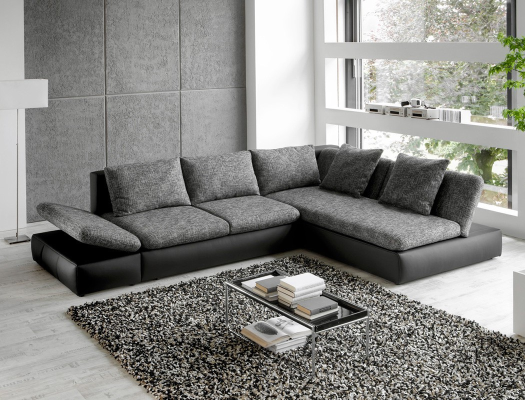 wohnlandschaft ecksofa 326x208 grau schwarz polsterecke couch bettkasten magnus ebay. Black Bedroom Furniture Sets. Home Design Ideas