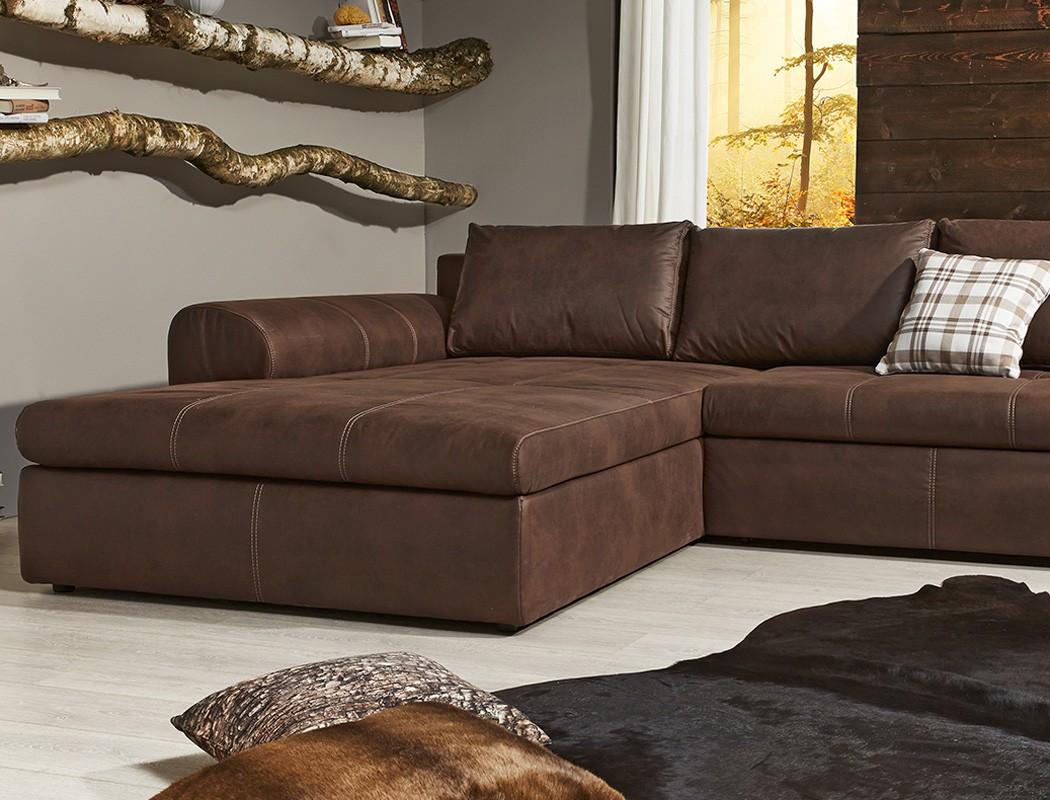 wohnlandschaft 290x213 sofa braun couch polsterecke antiklederoptik cassia ebay. Black Bedroom Furniture Sets. Home Design Ideas