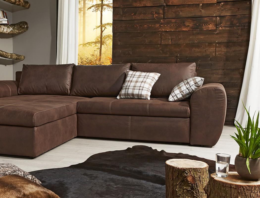 Wohnlandschaft 290x213 sofa braun couch polsterecke antiklederoptik cassia - Sofa antiklederoptik ...
