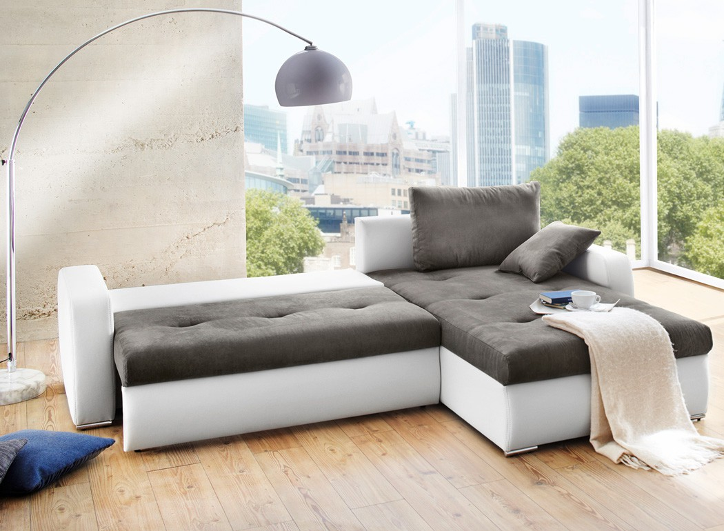 polsterecke 258x202cm grau weiss bettfunktion sofa couch wohnlandschaft ronia. Black Bedroom Furniture Sets. Home Design Ideas