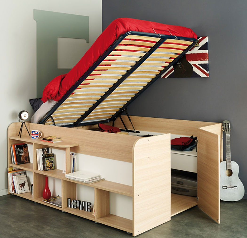 jugendbett stauraumbett bett 207x166 eiche kinderbett f r m dchen jungen spike ebay. Black Bedroom Furniture Sets. Home Design Ideas