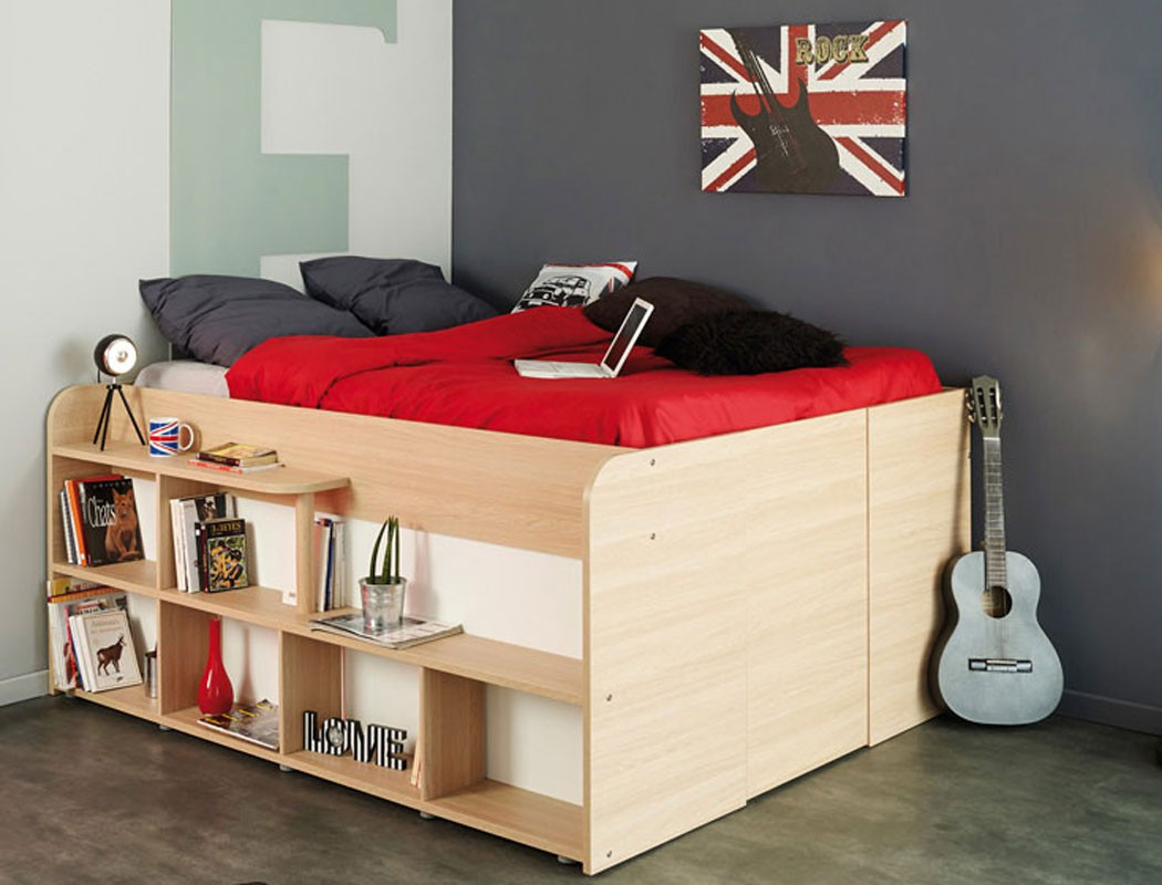 jugendbett stauraumbett bett 207x166 eiche kinderbett f r m dchen jungen spike. Black Bedroom Furniture Sets. Home Design Ideas
