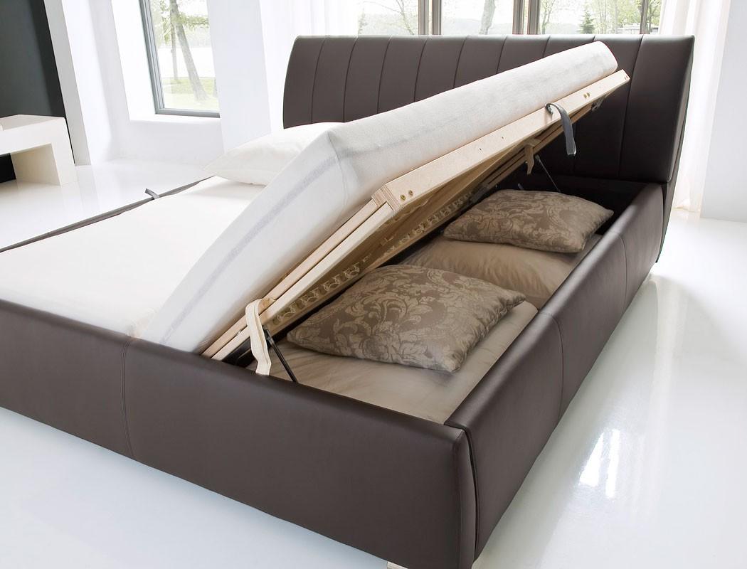 Polsterbett Doppelbett 180x200 Bett Braun Bettkasten