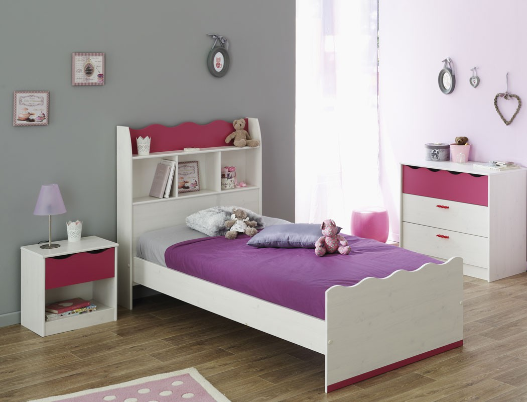 kinderzimmer m dchen wei pink kinderbett nachttisch. Black Bedroom Furniture Sets. Home Design Ideas