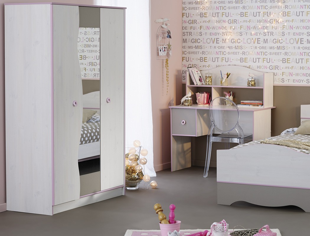 kinderzimmer wei grau rosa kleiderschrank kinderbett nako. Black Bedroom Furniture Sets. Home Design Ideas