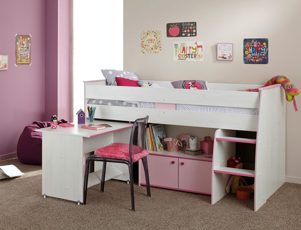 hochbett kinderbett bett 90x200 wei pink rosa jugendzimmer kinderzimmer zola ebay. Black Bedroom Furniture Sets. Home Design Ideas