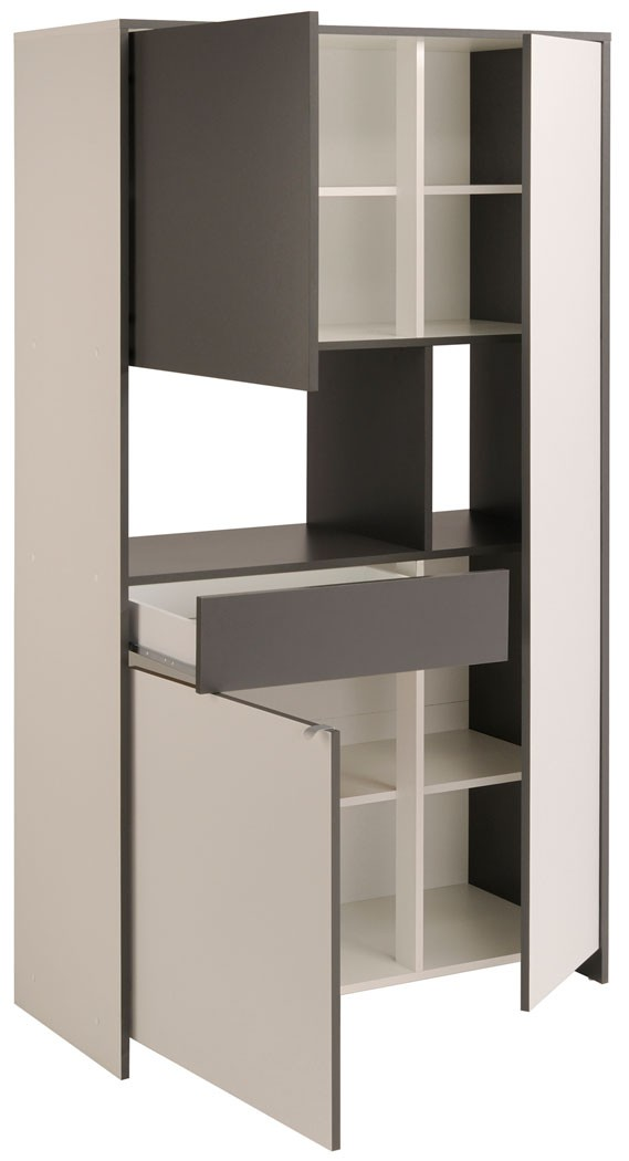 k chenschrank 100x181x43cm wei grau buffetschrank. Black Bedroom Furniture Sets. Home Design Ideas