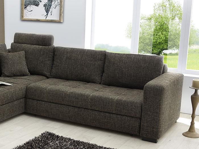 Polsterecke, Sofa Arugal 269x226cm, Strukturstoff braun  eBay