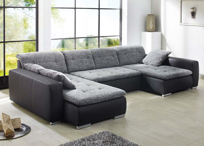 sofa couch ferrarie 365x220 185cm webstoff anthrazit kunstleder schwarz ebay. Black Bedroom Furniture Sets. Home Design Ideas
