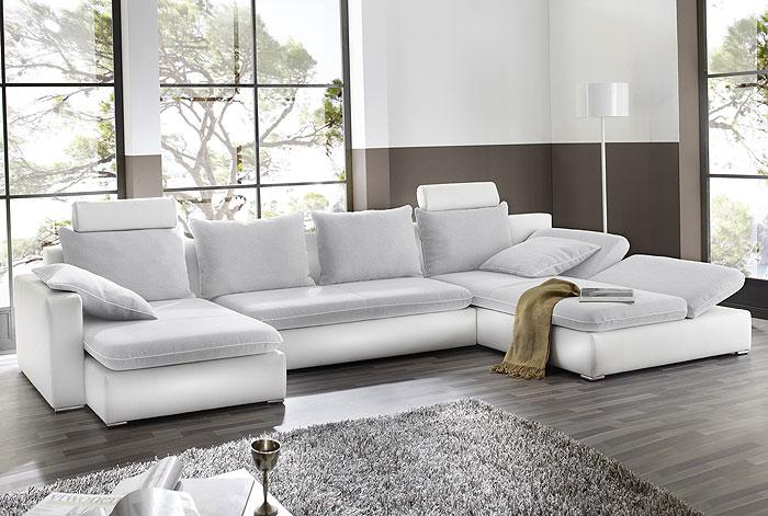 sofa wohnlandschaft orlando 385x208 160cm hellgrau wei. Black Bedroom Furniture Sets. Home Design Ideas