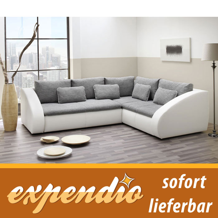 polsterecke starla 283x230cm grau wei sofa couch schlafsofa bettfunktion. Black Bedroom Furniture Sets. Home Design Ideas