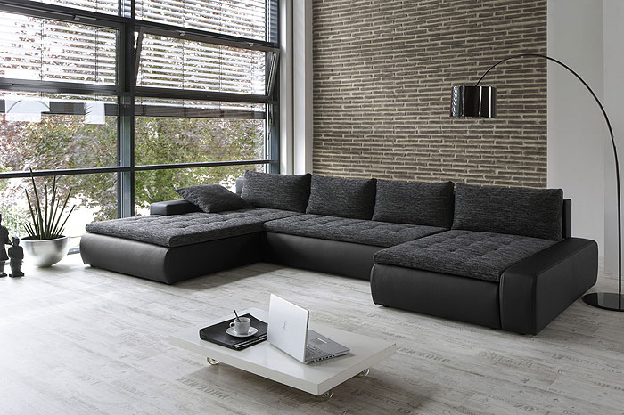 sofa pamela 389x212 162cm webstoff schwarz grau kunstleder schwarz ebay. Black Bedroom Furniture Sets. Home Design Ideas