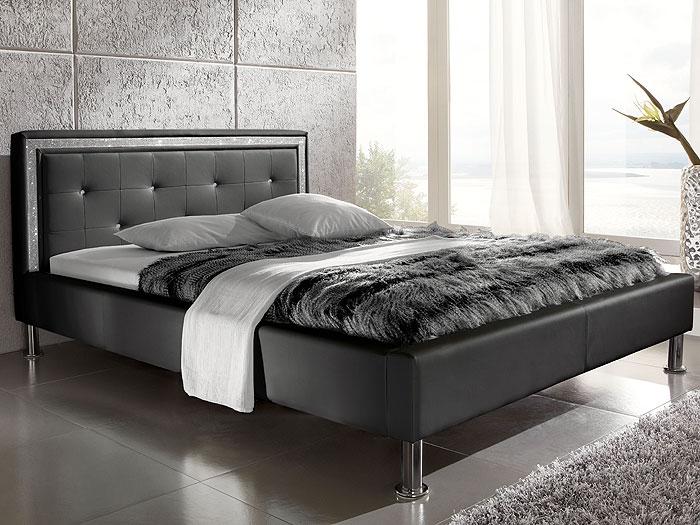 polsterbett schwarz cannes kunstleder swarovski strass. Black Bedroom Furniture Sets. Home Design Ideas