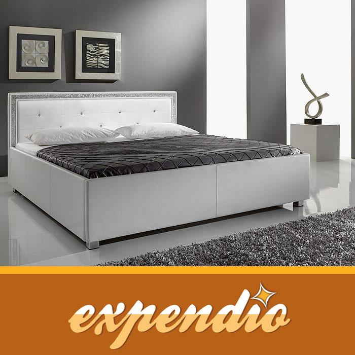 polsterbett 140x200 myles i wei textilleder bett mit. Black Bedroom Furniture Sets. Home Design Ideas