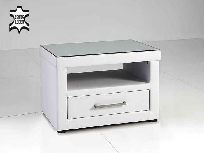 nachtkonsole vercaia 56x40cm echtleder esg glas nachttisch polsterbett leather ebay. Black Bedroom Furniture Sets. Home Design Ideas