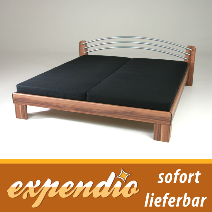 bett 180x200 komplett nussbaum mit matratze lattenrost futonbett louis ehebett ebay. Black Bedroom Furniture Sets. Home Design Ideas