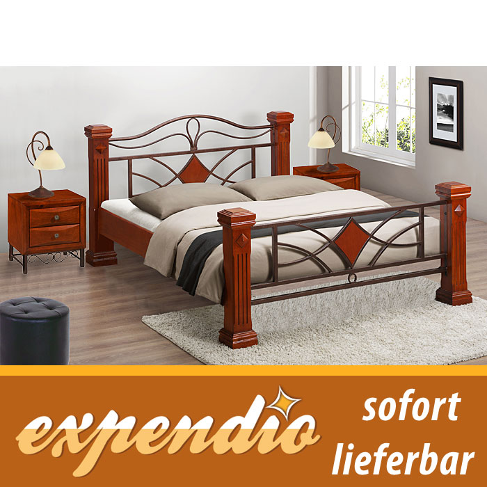 bett 180x200 komplett 2 nachttisch matratze lattenrost. Black Bedroom Furniture Sets. Home Design Ideas