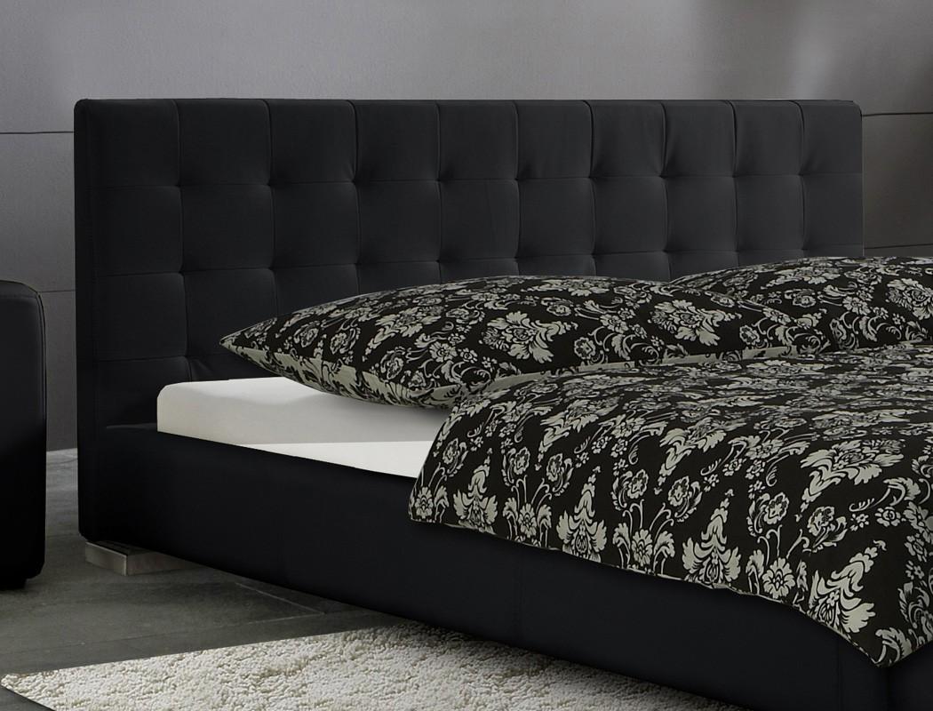 Polsterbett bett sander schwarz kunstleder ehebett for Bett schwarz