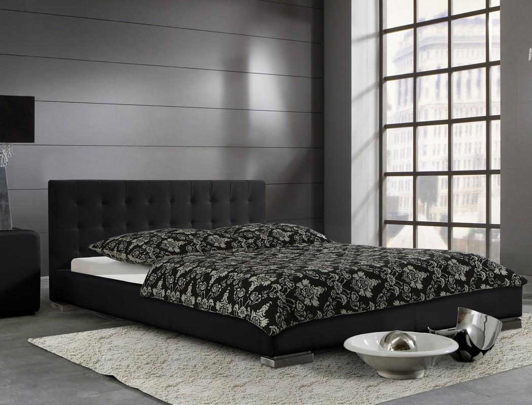 polsterbett schwarz sander kunstleder bett kunstlederbett. Black Bedroom Furniture Sets. Home Design Ideas