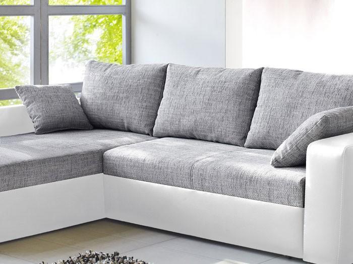 Ecksofa grau weiß  Ecksofa Vida 244x174cm grau weiss, Schlafsofa Sofa Couch ...