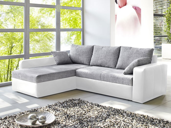 ecksofa vida 244x174cm grau wei couch sofa polsterecke schlafsofa bettkasten ebay. Black Bedroom Furniture Sets. Home Design Ideas