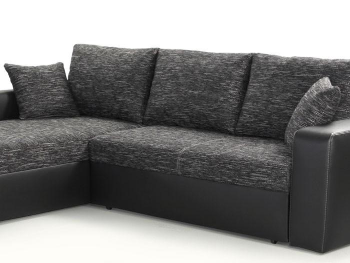 Ecksofa anthrazit  Ecksofa Vida 244x174cm anthrazit schwarz, Schlafsofa Couch ...