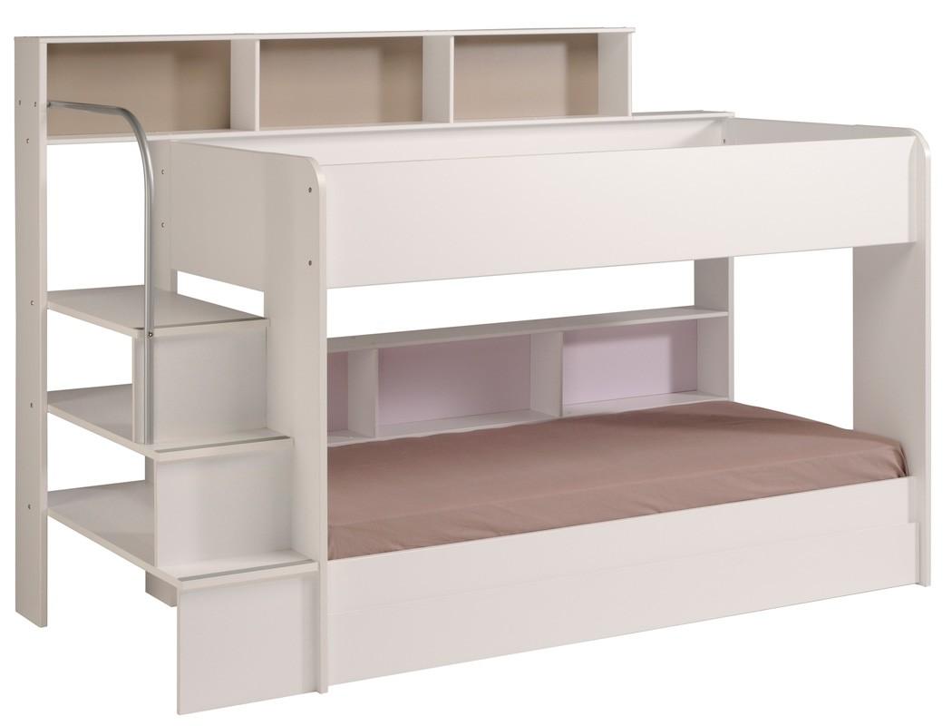 Etagenbett hochbett twin 21 wei 245x171x114cm mit bettkasten wohnbereiche sc - Lit superpose avec escalier ...
