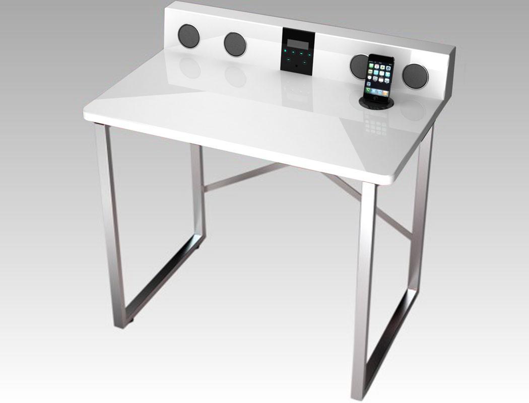 schreibtisch austin 80x79x50 hochglanz wei docking station hifi m bel wohnbereiche wohnzimmer. Black Bedroom Furniture Sets. Home Design Ideas