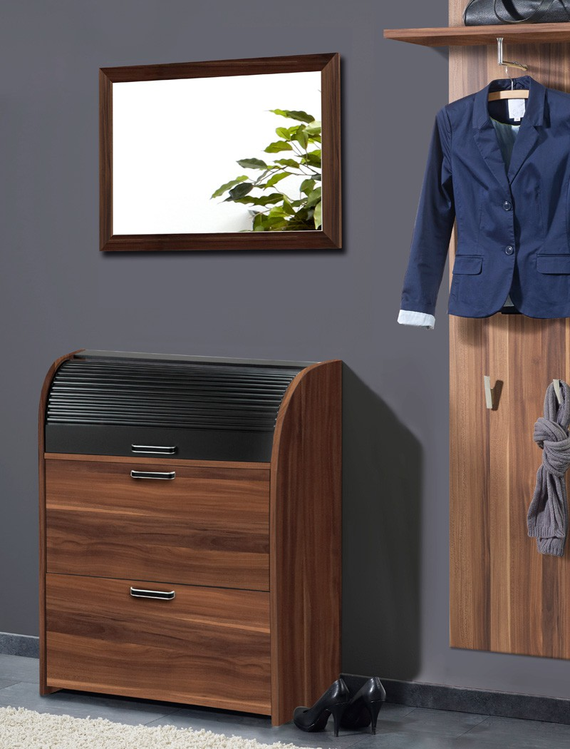 schuhschrank nussbaum 81x108x39 cm wandschuhschrank garderobe schrank ottawa ebay. Black Bedroom Furniture Sets. Home Design Ideas