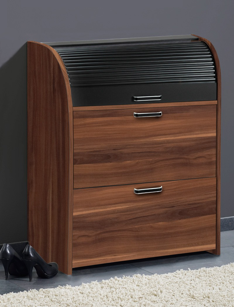 schuhschrank ottawa 81x108x39 cm wandschuhschrank nussbaum. Black Bedroom Furniture Sets. Home Design Ideas