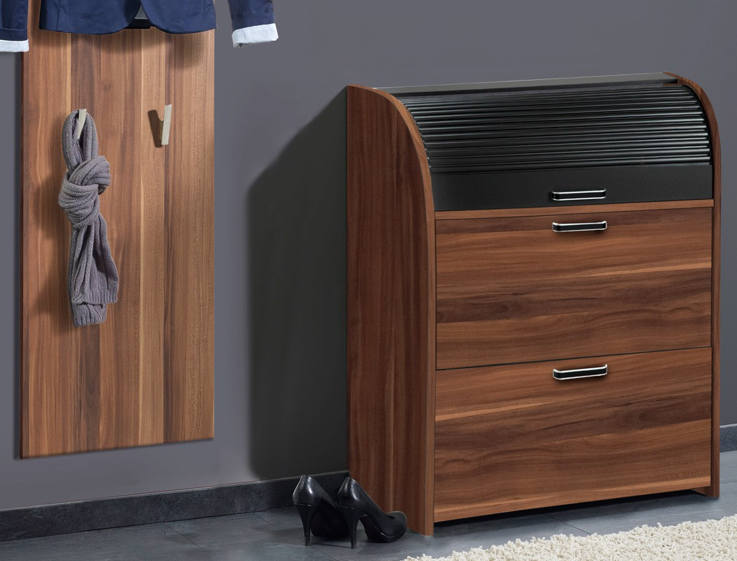 garderobe nussbaum 3 teilig garderobenset wandpaneel schuhschrank spiegel ottawa ebay. Black Bedroom Furniture Sets. Home Design Ideas
