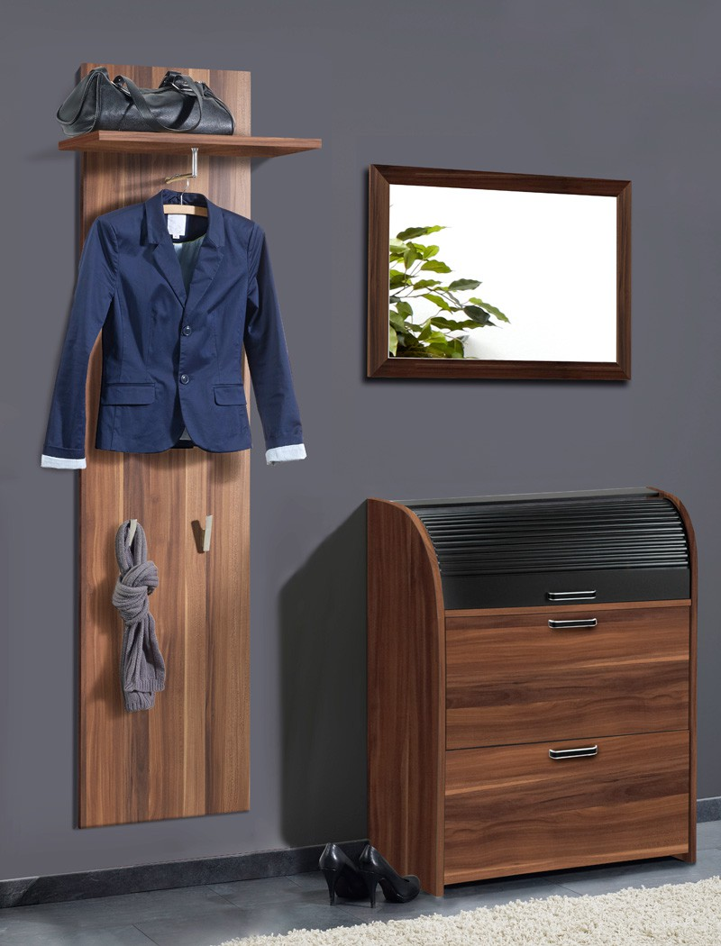 garderobe nussbaum 3 teilig garderobenset wandpaneel. Black Bedroom Furniture Sets. Home Design Ideas