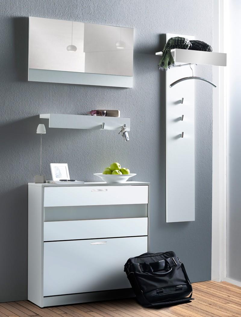 Garderoben set nando 5 tlg wei hochglanz paneel spiegel for Garderobe 4 teilig