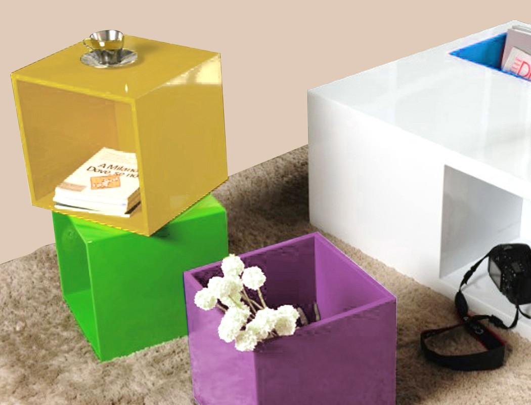 Couchtisch Fortuna 80x39x80 cm weiß Glanz Dekor 4 farbige