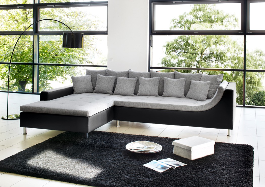 Couch schwarz amazing big sofa schwarz grau with big sofa for Wohnlandschaft in grau