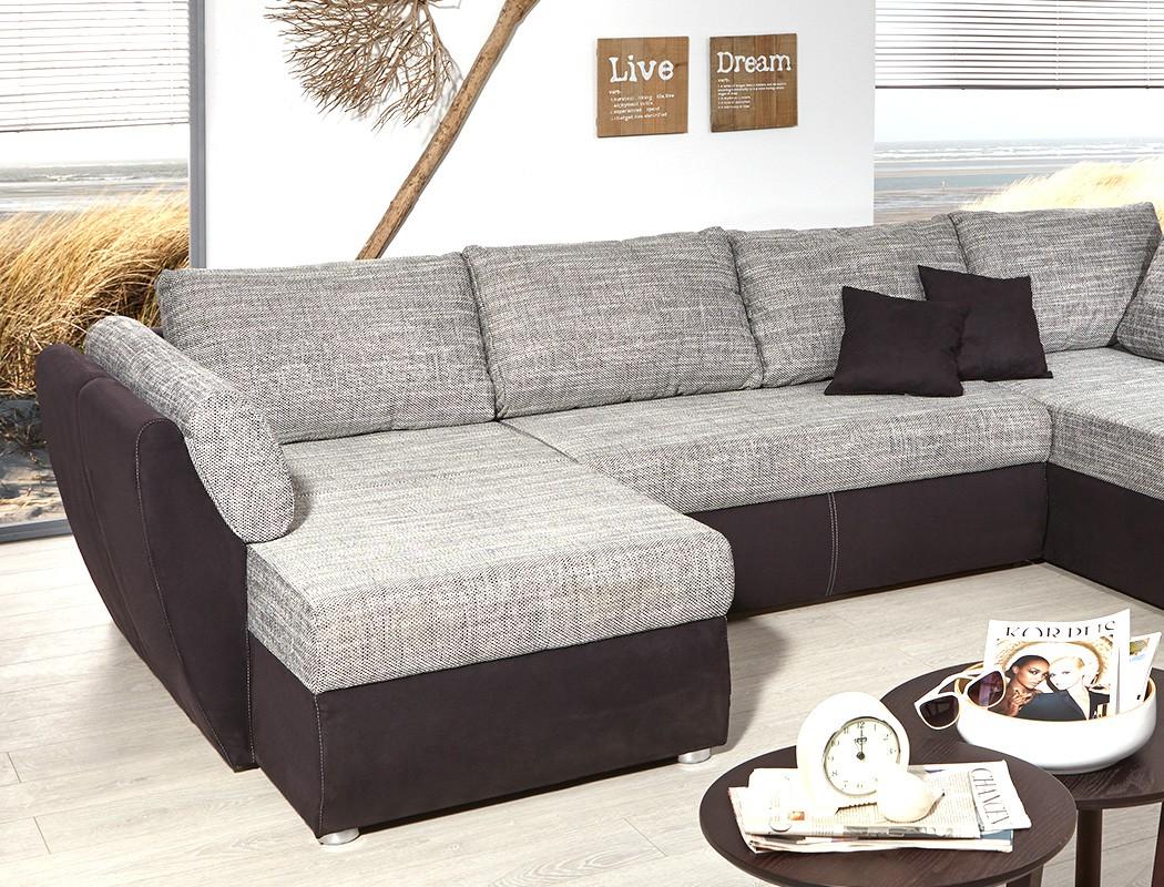 Couch u form 3m  Wohnlandschaft Ontario 326x231 cm Mikrofaser grau schwarz Sofa U ...