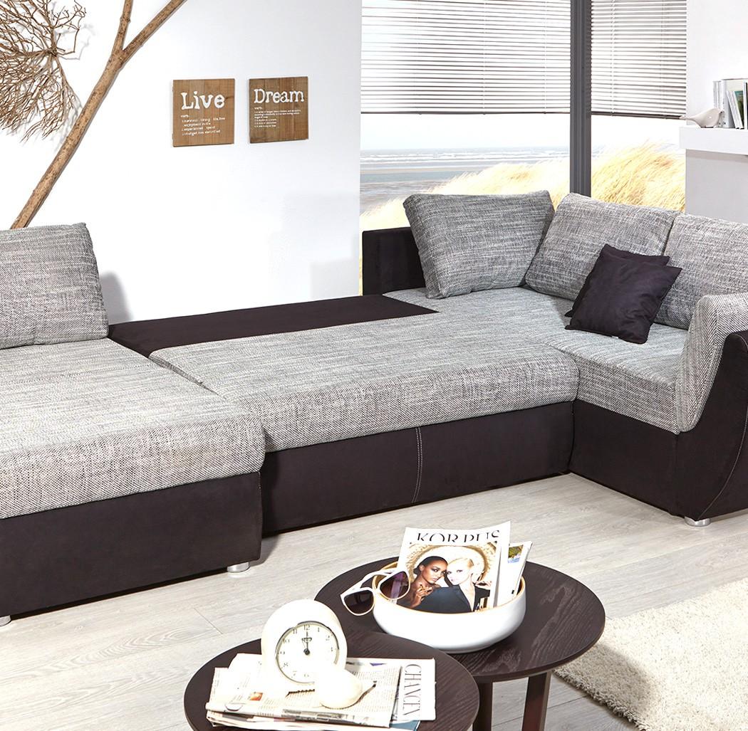 wohnlandschaft 326x231 cm mikrofaser grau schwarz u form. Black Bedroom Furniture Sets. Home Design Ideas