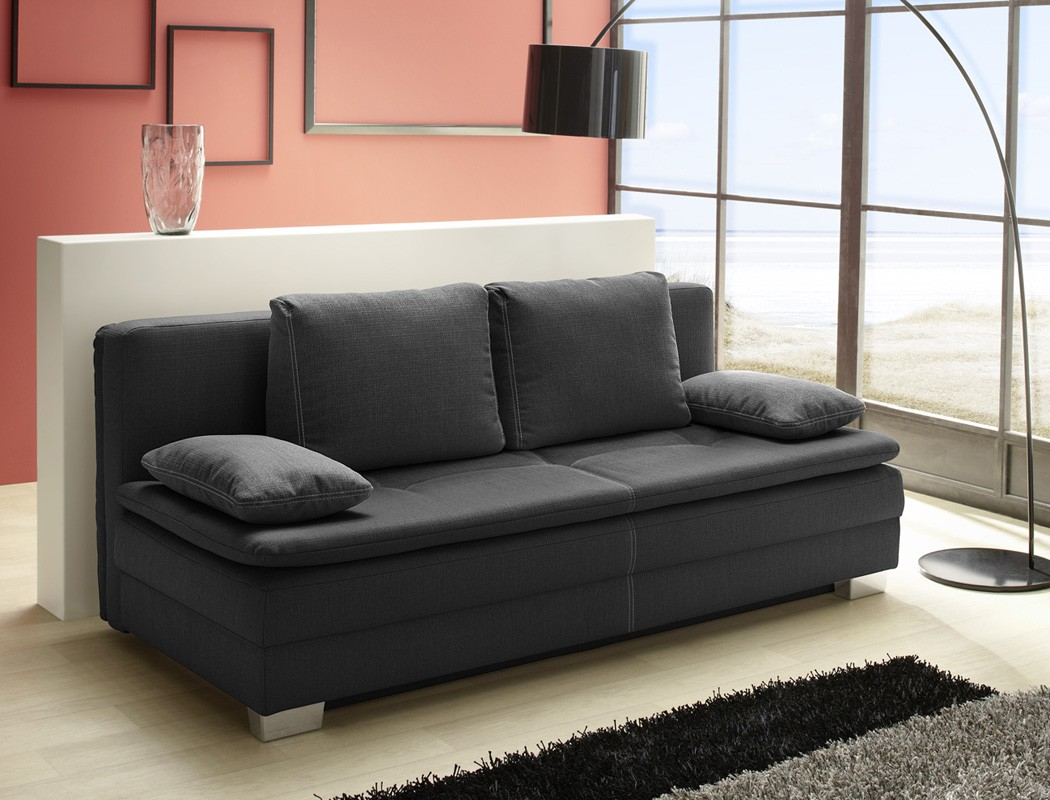 schlafsofa 202x101 cm dunkelgrau sofa couch bettkasten. Black Bedroom Furniture Sets. Home Design Ideas