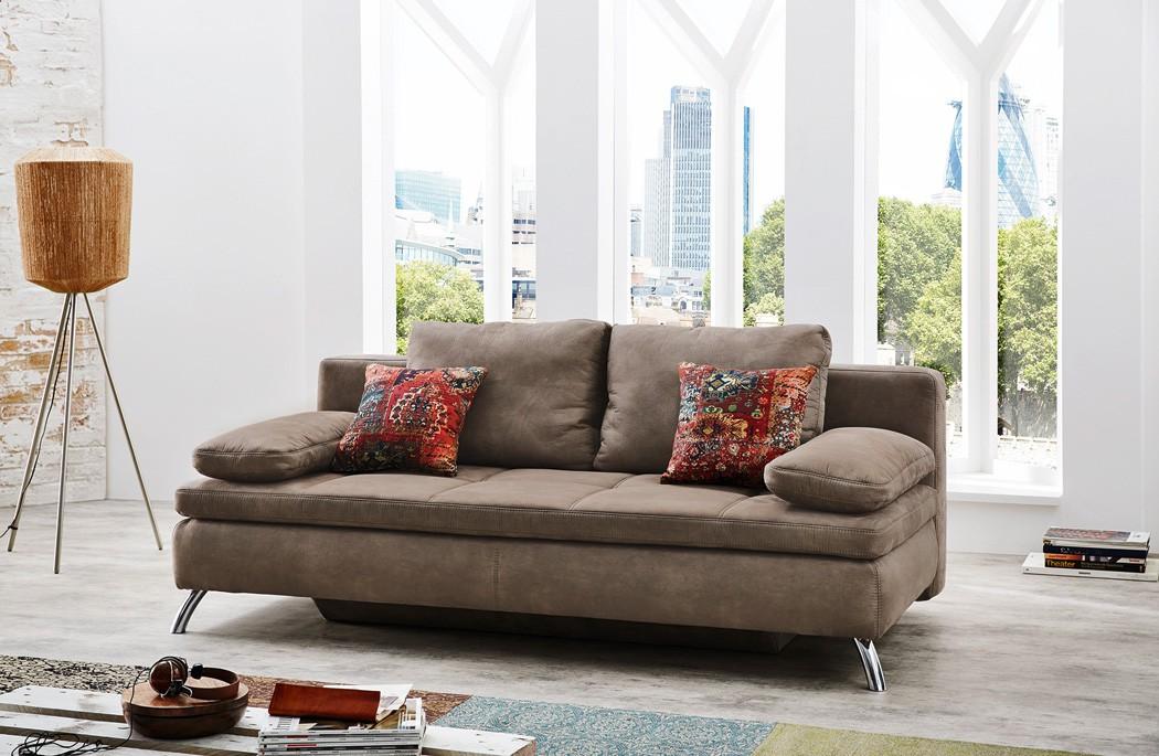 schlafsofa jamal 203x95 cm mikrofaser hellbraun antiklederoptik couch wohnbereiche wohnzimmer. Black Bedroom Furniture Sets. Home Design Ideas