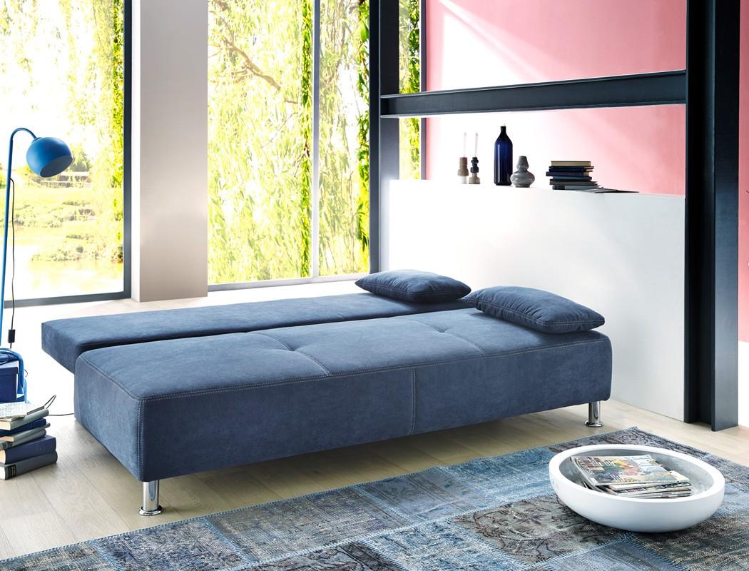 funktionssofa carlo 203x97 cm mikrofaser blau schlafsofa sofa couch wohnbereiche wohnzimmer sofa. Black Bedroom Furniture Sets. Home Design Ideas