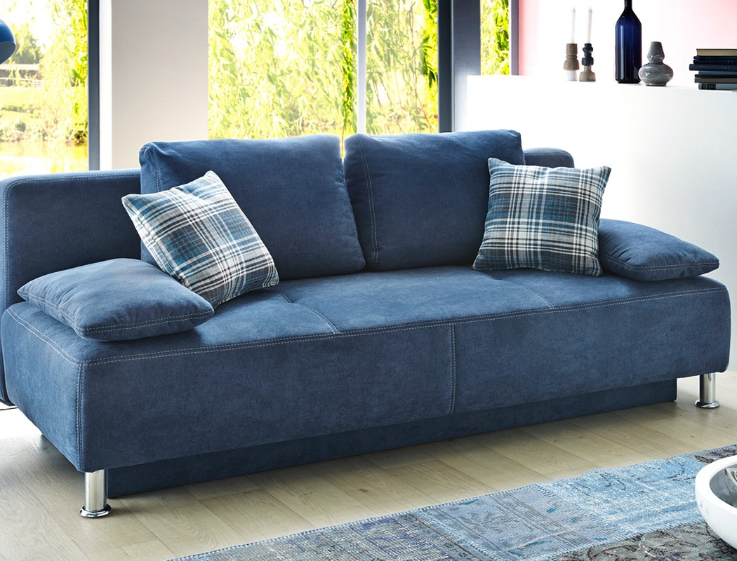 funktionssofa carlo 203x97 cm mikrofaser blau schlafsofa sofa couch wohnbereiche wohnzimmer sofa. Black Bedroom Furniture Sets. Home Design Ideas