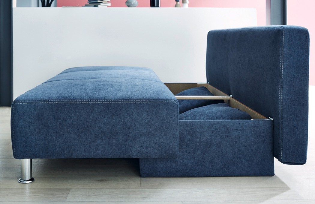funktionssofa carlo 203x97 cm mikrofaser blau schlafsofa. Black Bedroom Furniture Sets. Home Design Ideas